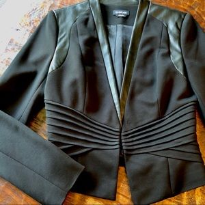 Bebe retro pleated jacket faux leather details